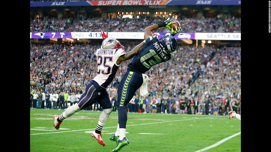 GLENDALE, AZ - FEBRUARY 01:  Chris Matthews #13 of the Seattle Seahawks makes a catch against  Kyle Arrington #25 of the New England Patriots  in the second quarter during Super Bowl XLIX at University of Phoenix Stadium on February 1, 2015 in Glendale, Arizona.  (Photo by Christian Petersen/Getty Images)